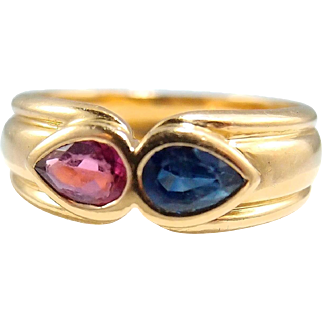Splendid sapphire and tourmaline ring in 18K solid gold, fine French gold jewelry