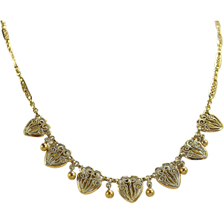 Art Nouveau 18K solid gold necklace Gold filigree bib necklace French stamped solid gold chain