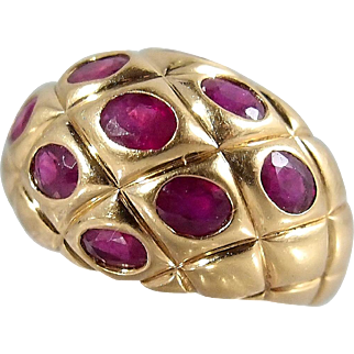 18K solid gold bombe ring with natural rubies Large and heavy dome statement ring Fine gold mid-century