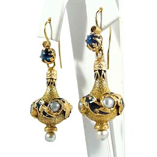 18K solid gold Etruscan revival ornate danglers with enamel, sapphire and pearl. Stamped earrings