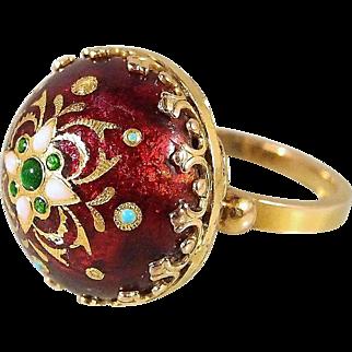 18K solid gold Enamel Emerald Etruscan revival ring Heavy dome shaped fancy prongs Fine gold