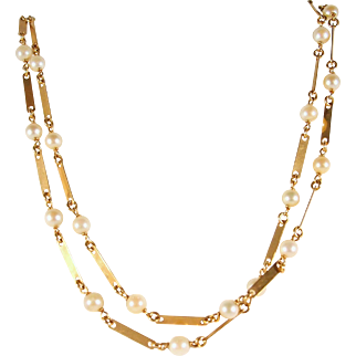 Estate long guard chain with pearls in 18K solid gold 31 inches fine fancy links Vintage French chain stamped