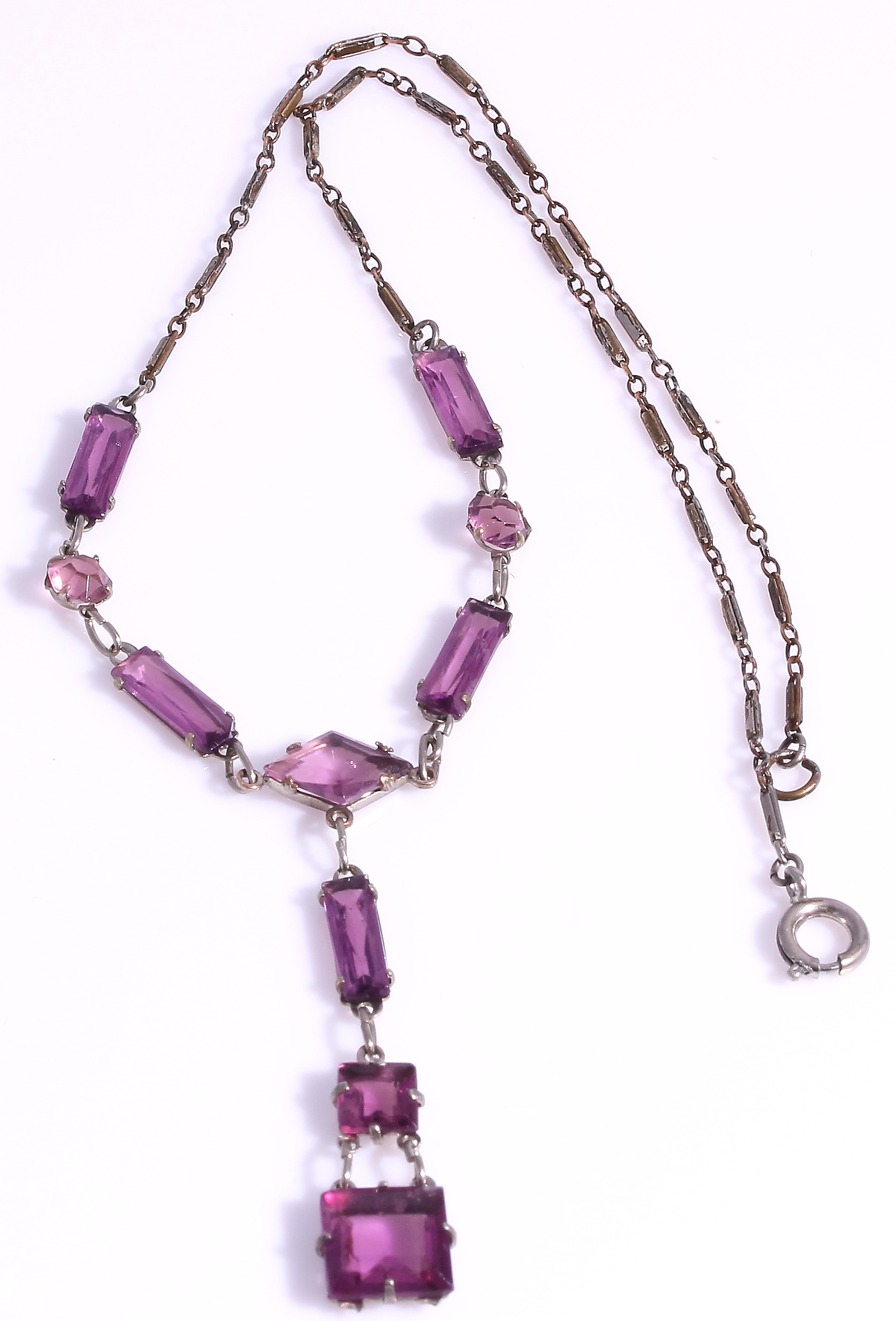 Art Deco Amethyst Colored Open Back Crystal Necklace Sold