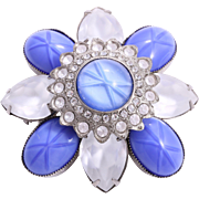 GRAZIANO Signed Extravagant Tiered Floral Rhinestone Brooch Pin