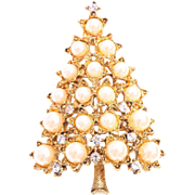 Book Piece R.J. Graziano Faux Pearl and  Rhinestone Christmas Tree Pin/Brooch