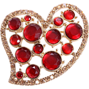 Ruby Red Freeform Heart Brooch by Monet
