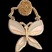 Vintage Juliana (D&E) Book Piece Enamel Butterfly Pendant Necklace