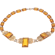 Rare Art Deco Czech-Slovak Signed Gold-Plated Brass Amber Glass Stone Necklace