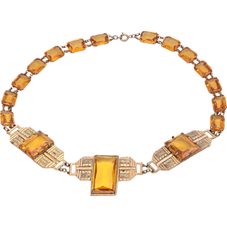 Art Deco Czech Signed Gold-Plated Amber Glass Stone Necklace