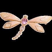Kenneth Jay Lane for Avon Enameled Rhinestone Dragon Fly Brooch