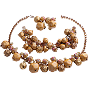 Gorgeous D&E Juliana Book Piece  Parure with Venetian Beads and Rhinestones