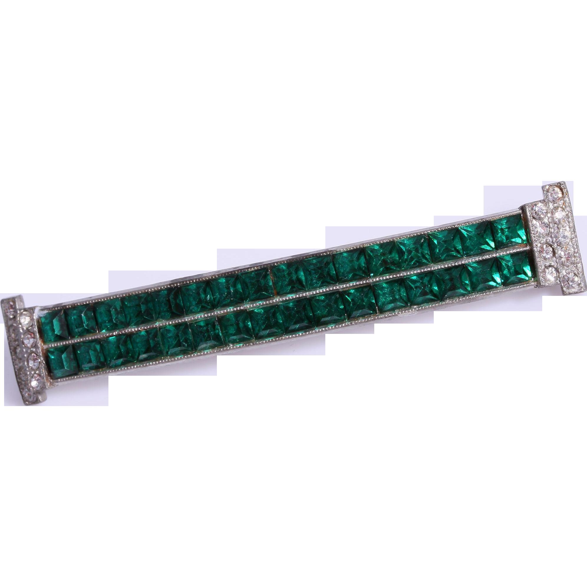 Large Art Deco Channel Set Emerald Green Rhinestone Bar