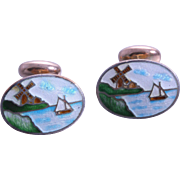 RARE Victorian Porcelain Hand-Painted Dutch Windmill & Sailboat Pictorial Cufflinks