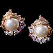 ART Signed Giant Faux Pearl Clip On Earrings