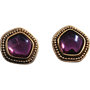 Vintage Yves Saint Laurent Pierced Amethyst Glass Gold-Plated Earrings