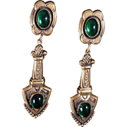 Joseff of Hollywood Emerald Green Cabochon Dangle Earrings