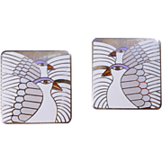 "Laurel Burch Cloisonne ""Moon Doves"" Pierced Earrings"