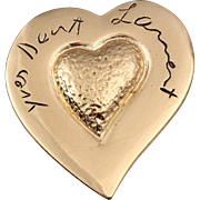 Yves Saint Laurent, Made in France Gold-Plated Signature Heart Pin