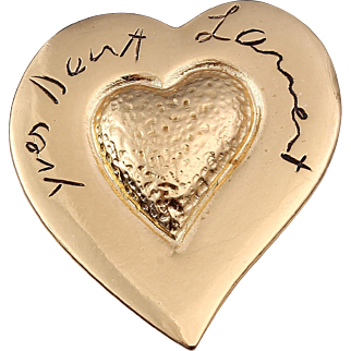 50% Off Yves Saint Laurent, Made in France, Gold-Plated Signature Heart Pin