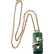 Crown Trifari Faux Jade Modernist-Styled Pendant Necklace