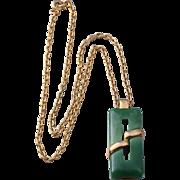 Mint Crown Trifari Faux Jade Modernist Pendant Necklace