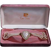50% Off -Pierre Cardin Faux Pearl Gold-Plated Triple Strand Bridal Choker Necklace with Original Box
