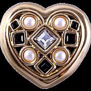 GIVENCHY Paris New York Jeweled Heart-Shaped Pin/Brooch