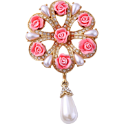 Vintage Pink Floral and Faux Pearl Bridal Pin by Nancy & Rise