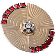 Unique BOUCHER Fan-Like Circle Pin with Ruby Red Rhinestones
