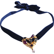 Vintage Christian Lacroix Blue Velvet Choker Necklace with Jeweled Heart Pendant