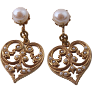 Miriam Haskel Heart-Shaped Pearl Dangle Earrings
