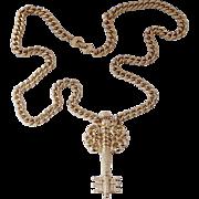 RARE MONET 1968 BOOK PIECE, Huge Gold-Tone Skeleton Key Pendant Necklace