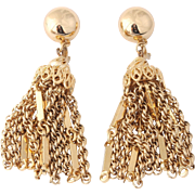 MONET's Damita Series, Book Piece Tassel Gold-Tone Earrings