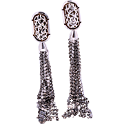 Rare Unsigned Whiting & Davis Silver-Plated Mesh Tassel Pierced Earrings