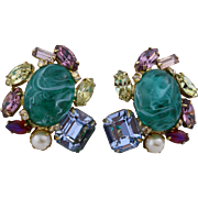 1950s Alice Caviness Extraordinary Crystal Gem Earrings