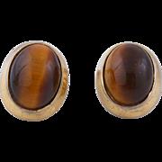Tiger Eye Kenneth Jay Lane 1970s Earrings