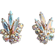 Signed Sherman Sparkling Aurora Borealis Bridal Rhinestone Earrings