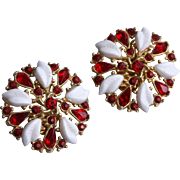Festive Crown Trifari Mid Century Ruby Red Crystal Earrings