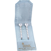 Bridal Crown Trifari 1956 Hair Clips in Satin Case, Featured in Magazine Ad