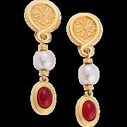Haute Couture Vintage Karl Lagerfeld Faux Baroque Pearl Drop Dangle Earrings