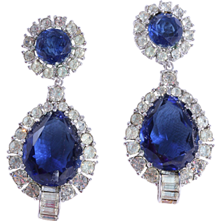 CINER Simulated Sapphire and Diamond Dangle Drop Earrings