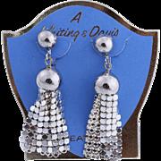 Vintage Whiting & Davis Mint Silver-Plated Tassel Dangle Earrings