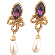 Swarovski Faux Amethyst Pearl Earrings for Pierced Ears