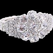 Glamorous Rhodium-Plated Silver-Tone Rhinestone Cuff Bracelet