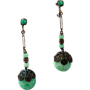 Rare Art Deco Peking Glass Bead Drop Earrings