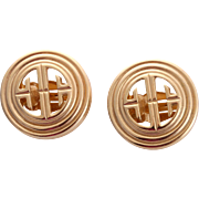 Iconic Givenchy Paris New York Gold-Plated Earrings