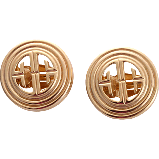 Classic Givenchy Paris New York Logo Gold-Tone Earrings