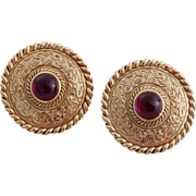 Vintage Givenchy Paris New York Art Nouveau Styled Button Earrings