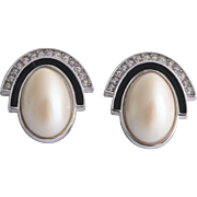 Vintage Givenchy Simulated Pearl Enamel Crystal Earrings