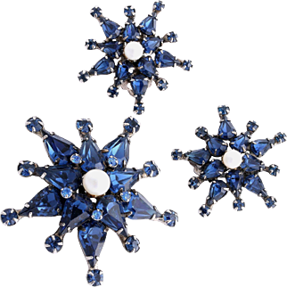 Extraordinary ADELE SIMPSON Faux Pearl and Blue Rhinestone Starburst Set
